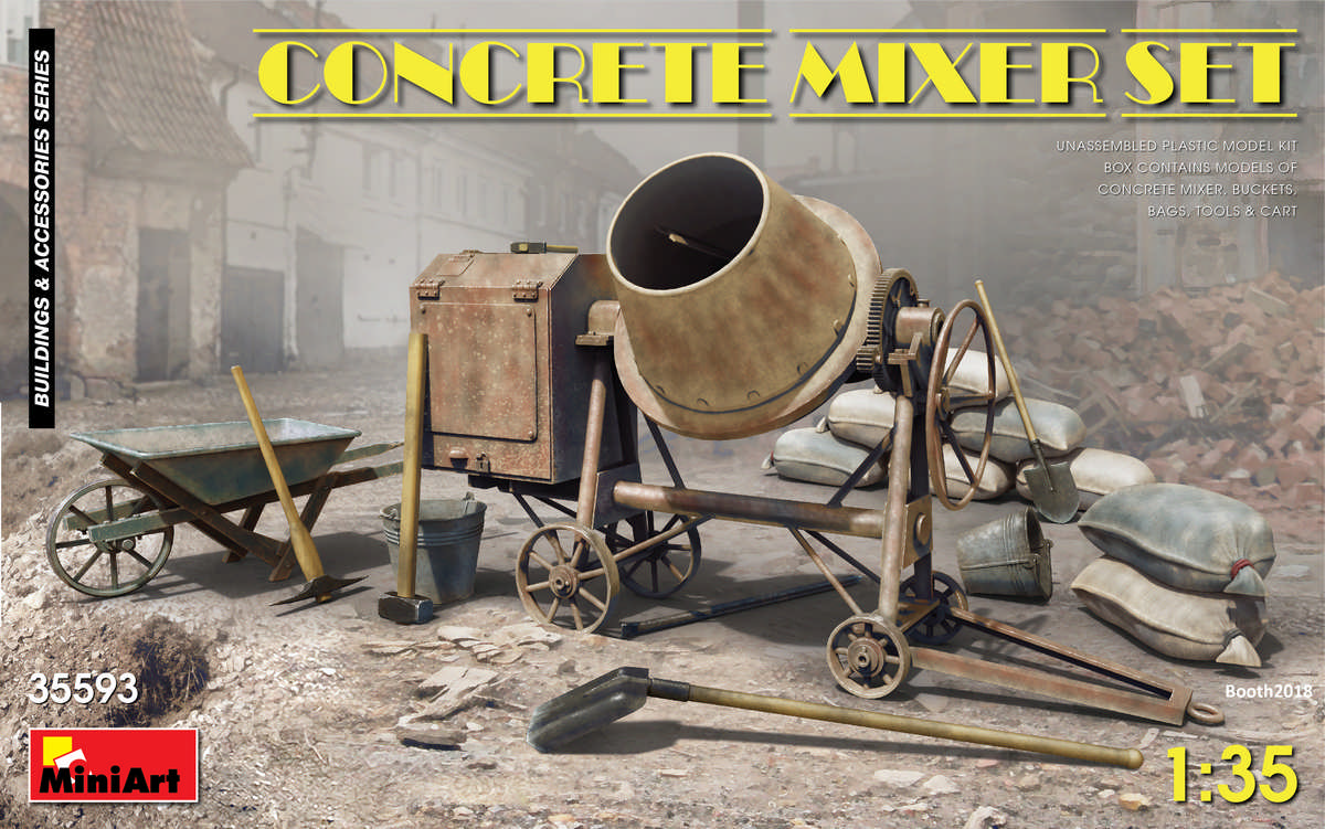 MiniArt-35593-Concrete-Mixer-Set-1 Concrete Mixer Set im Maßstab 1:35 von MiniArt 35593
