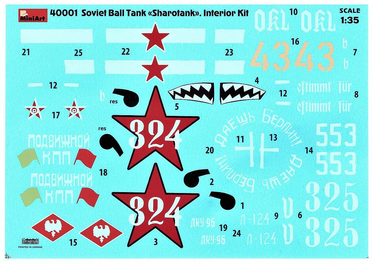 MiniArt-40001-Soviet-Ball-Tank-Sharotank-DEcal Soviet Ball Tank Sharotank in 1:35 von MiniArt # 40001