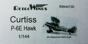 Curtiss P-6E Hawk im Maßstab 1:144 von RetroWings RW 44130