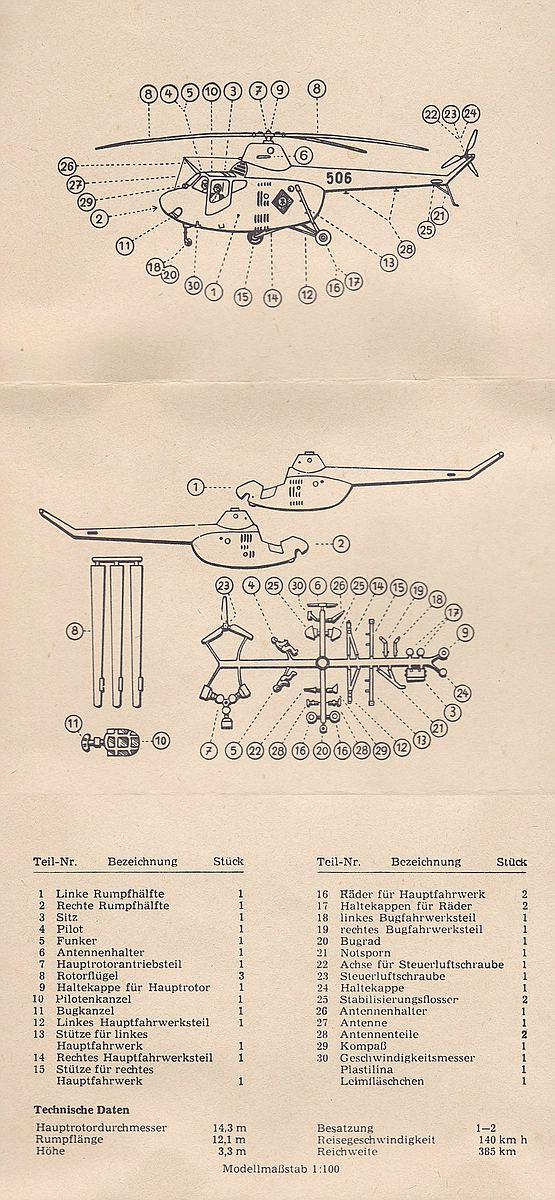 VEB-Plasticart-Mil-Mi-1-14 Kit-Archäologie: Mil Mi-1 und Mil Mi-4 im Maßstab 1:100 von VEB Plasticart