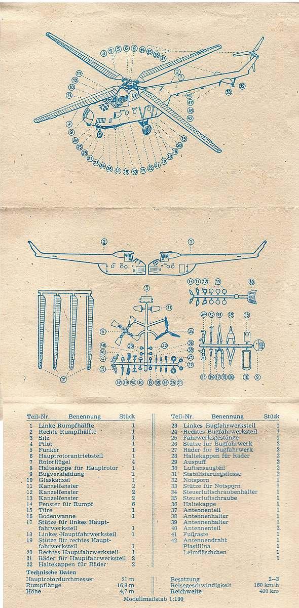 VEB-Plasticart-Mil-Mi-4-13 Kit-Archäologie: Mil Mi-1 und Mil Mi-4 im Maßstab 1:100 von VEB Plasticart