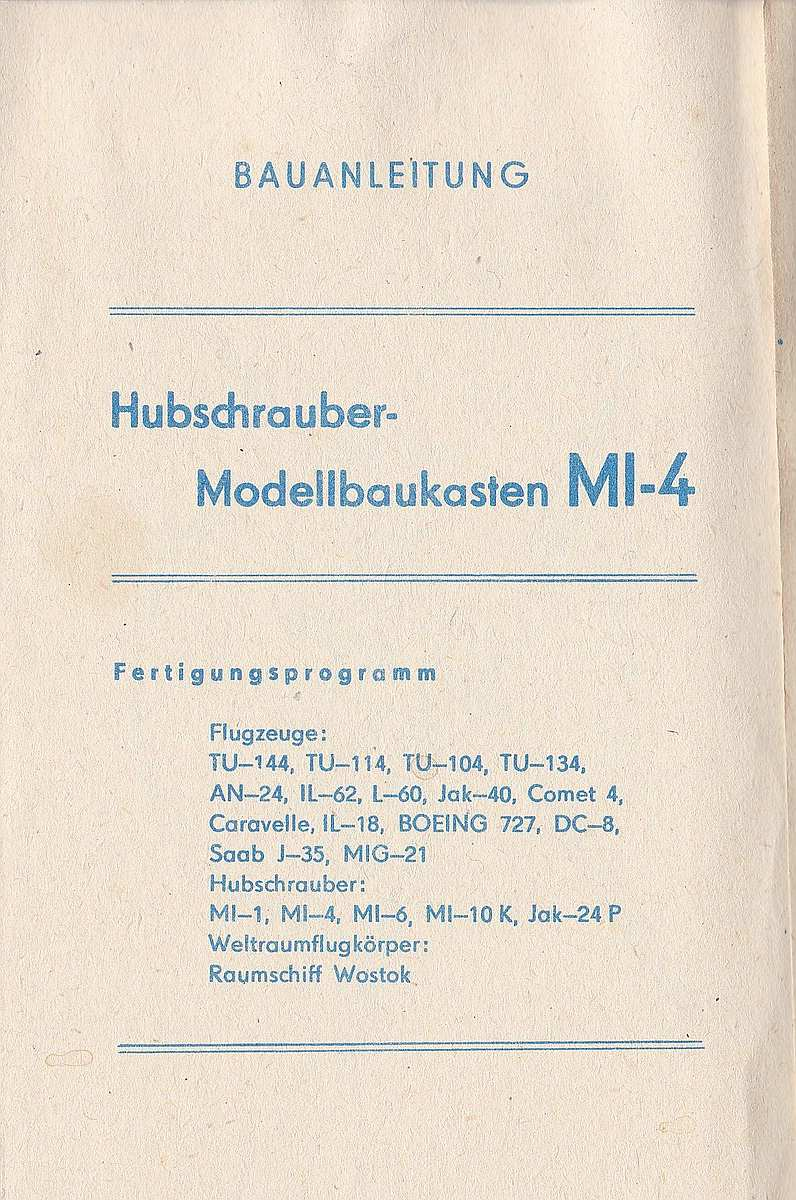 VEB-Plasticart-Mil-Mi-4-14 Kit-Archäologie: Mil Mi-1 und Mil Mi-4 im Maßstab 1:100 von VEB Plasticart