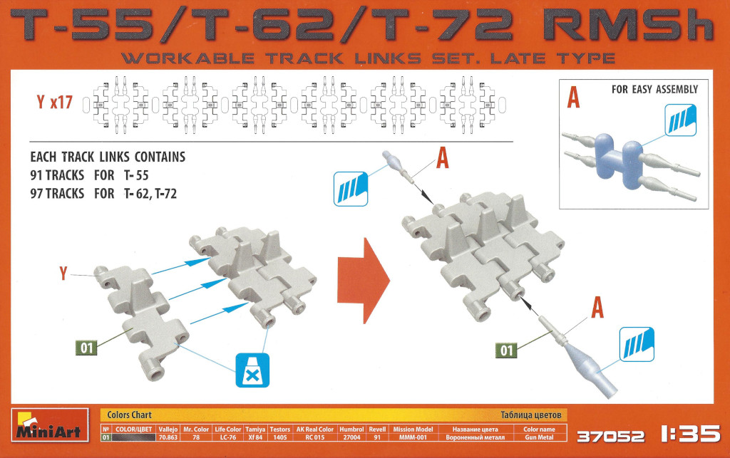 Anleitung T-55/T-62/T-72 RMSh Late Type Workable Track Links Set 1:35 Miniart 37052
