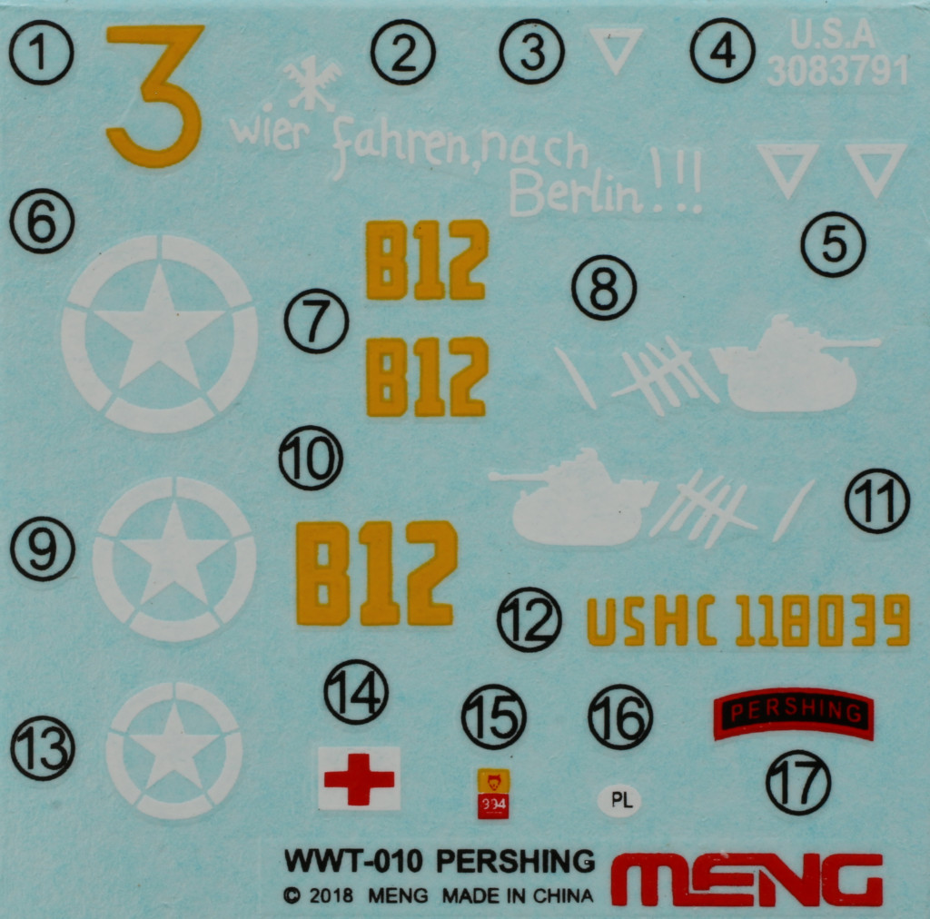 Decals-1 World War Toons U.S. Heavy Tank M26 Pershing Meng Model (#WWT-010)