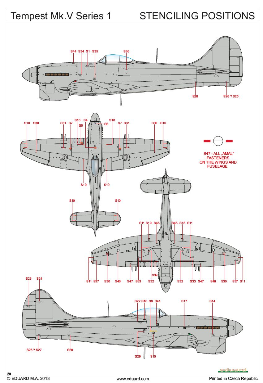 Eduard-82121-Tempest-Mk.-V-Bauanleitung-13 Hawker Tempest Mk. V Series 1 im Maßstab 1:48 von Eduard PROFIPACK 82121
