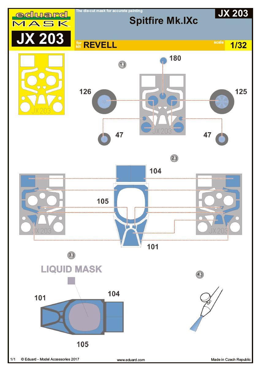 Eduard-JX-203-Spitfire-Mk.-IXc-Masken Masken für die Spitfire von Eduard JX 203