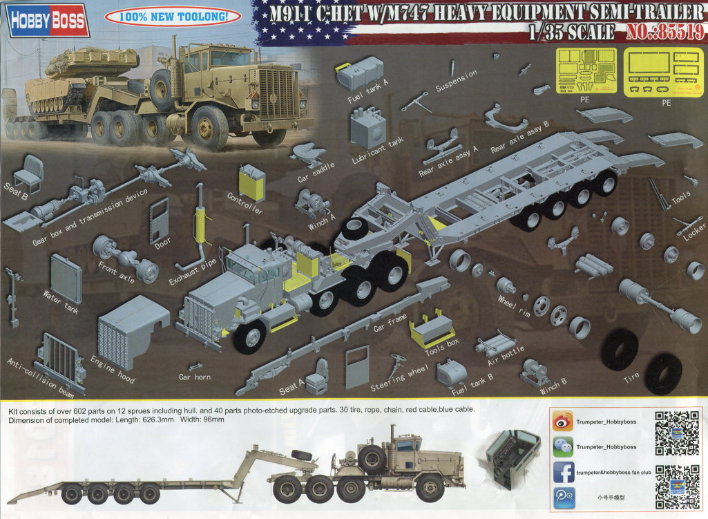 Review_Hobby-Boss_M911_C-HET_069 M911 C-HET with M747 Heavy Equipment Semi Trailer - Hobby Boss 1/35