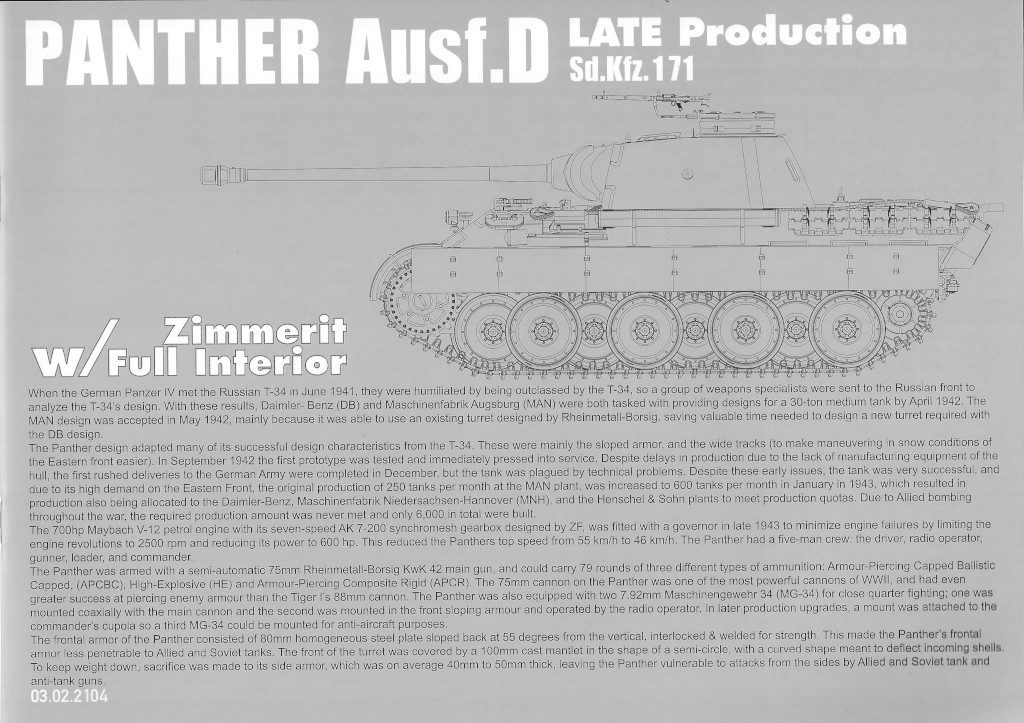 Anleitung01-1-1024x723 Panther Ausf. D Late Prod. Sd. Kfz. 171 w. Zimmerit Full Interior 1:35 Takom #2104