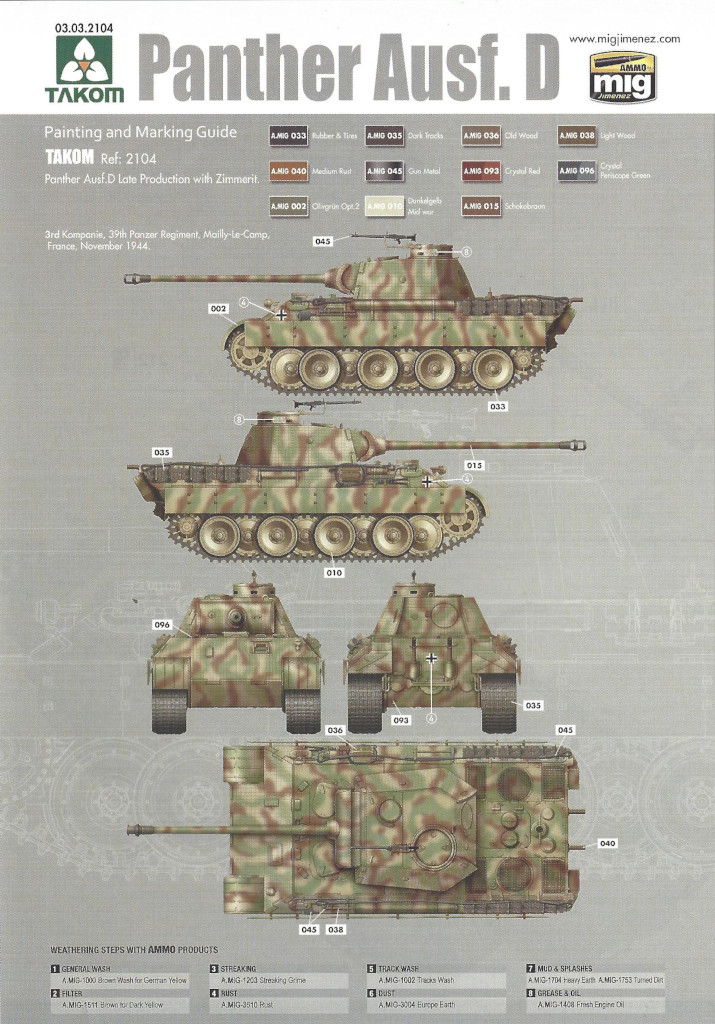 Anleitung35 Panther Ausf. D Late Prod. Sd. Kfz. 171 w. Zimmerit Full Interior 1:35 Takom #2104