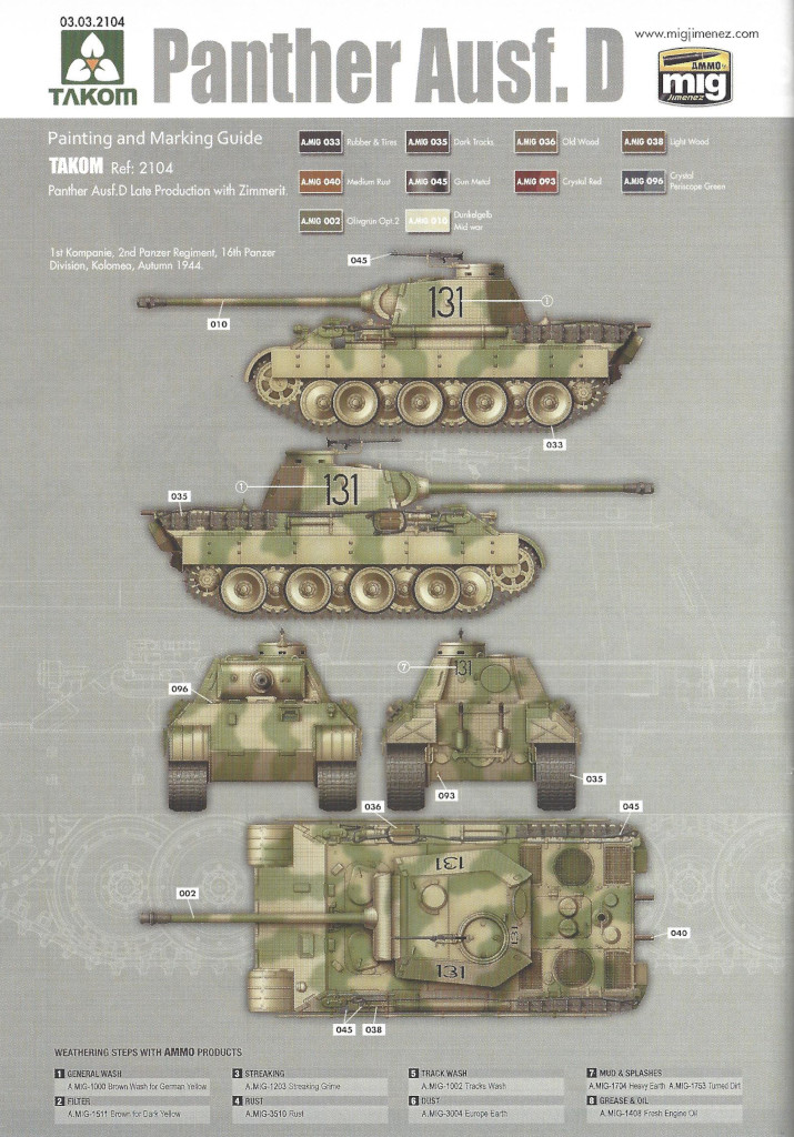 Anleitung36 Panther Ausf. D Late Prod. Sd. Kfz. 171 w. Zimmerit Full Interior 1:35 Takom #2104