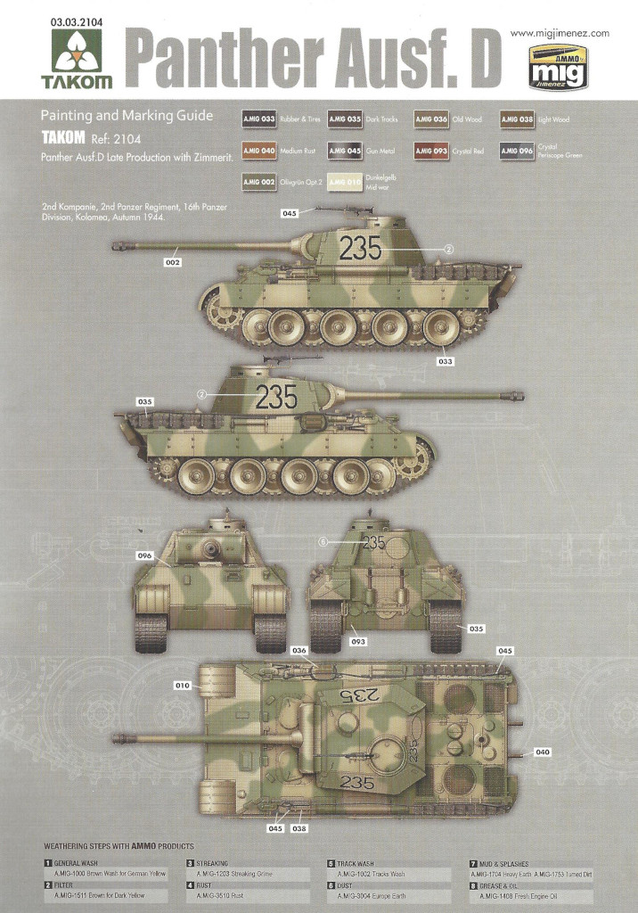 Anleitung37 Panther Ausf. D Late Prod. Sd. Kfz. 171 w. Zimmerit Full Interior 1:35 Takom #2104