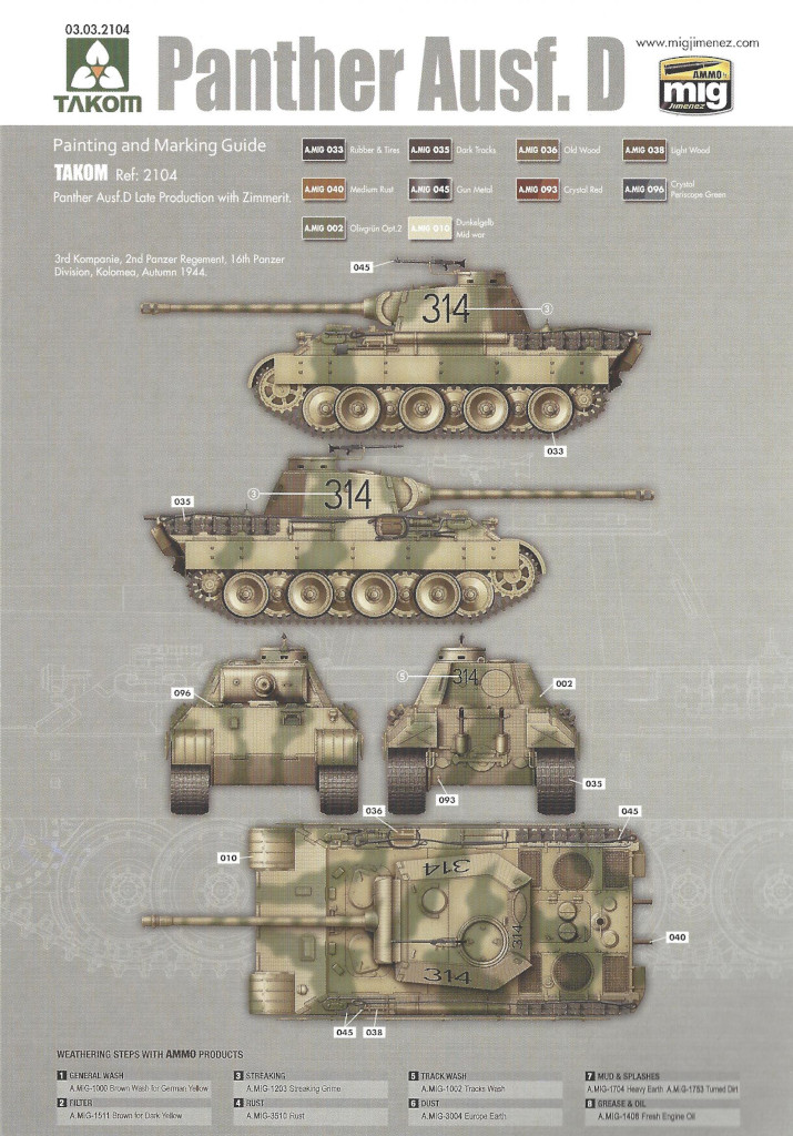 Anleitung38 Panther Ausf. D Late Prod. Sd. Kfz. 171 w. Zimmerit Full Interior 1:35 Takom #2104