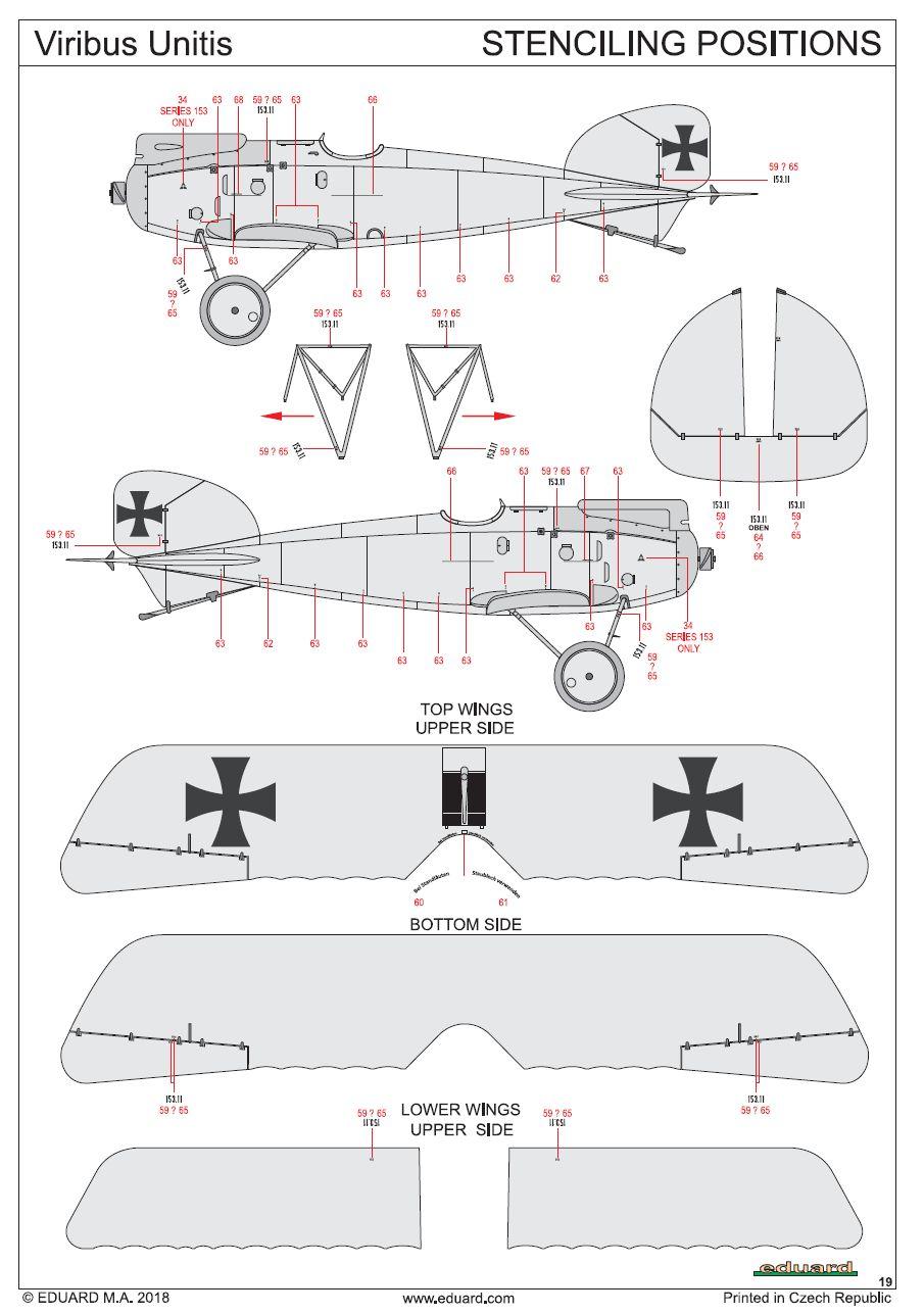 Eduard-11124-Viribus-Unitis-STencilplan Albatros D. III Oeffag Viribus Unitis in 1:48 von Eduard # 11124