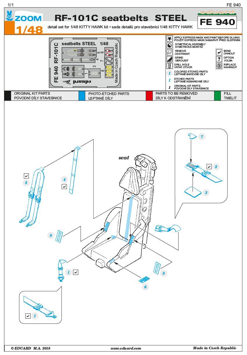 Eduard-FE-940-RF-101-Voodoo-Seatbelts-STEEL-2 Zubehör für die RF 101 Voodoo von Kitty Hawk 1:48 von EDUARD