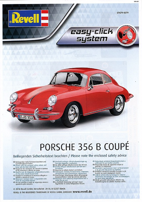 LOT 55440Revell 07679 Porsche 356 B Coupé 1:16 Bausatz easy-click NEU in OVP