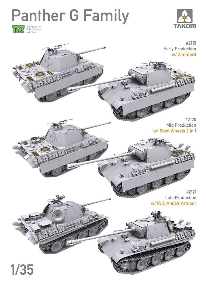 1194119-13385-26-pristine Panther Ausf. D Late Prod. Sd. Kfz. 171 w. Zimmerit Full Interior 1:35 Takom #2104