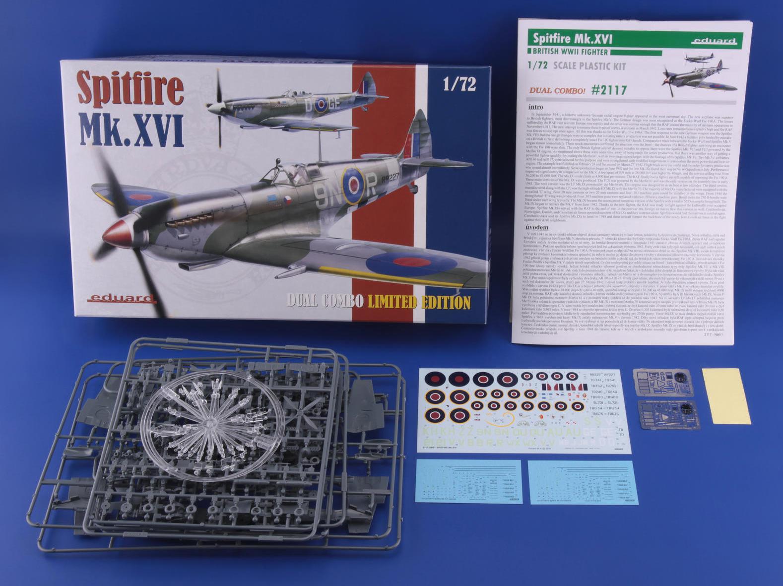 Eduard-2117-Spitfire-Mk.-XVI-Dual-Combo-Schachtelinhalt SUPERMARINE SPITFIRE Mk.XVI IN 1:72 ALS DUAL COMBO VON EDUARD #2117