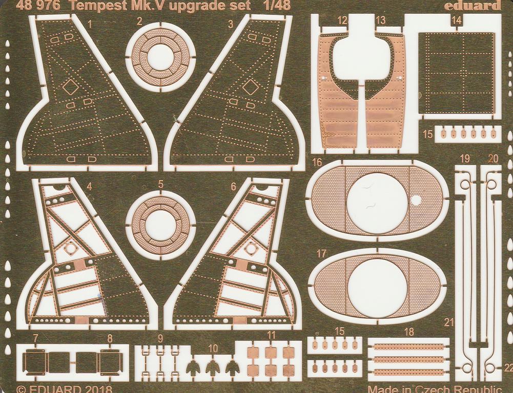 Eduard-48976-Tempest-Mk.-V-upgrade-set-2 Eduard Tempest Mk.V Upgrade-Ätzteilsätze für Kühler/Fahrwerk und für Landeklappen in 1:48