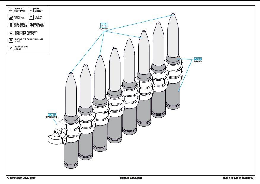 Eduard-648409-Ammo-belts-20mm-Hispano-2 Tempest Mk. V Gun bays und Ammo belts 20mm Hispano von Eduard # 648419