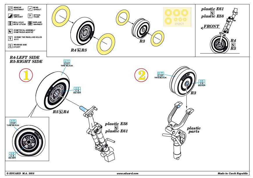 Eduard-648421-Tempest-Mk.-V-wheels-late-3 Tempest Mk.V Brassin in 1:48 von Eduard #648418 #648420 #648421