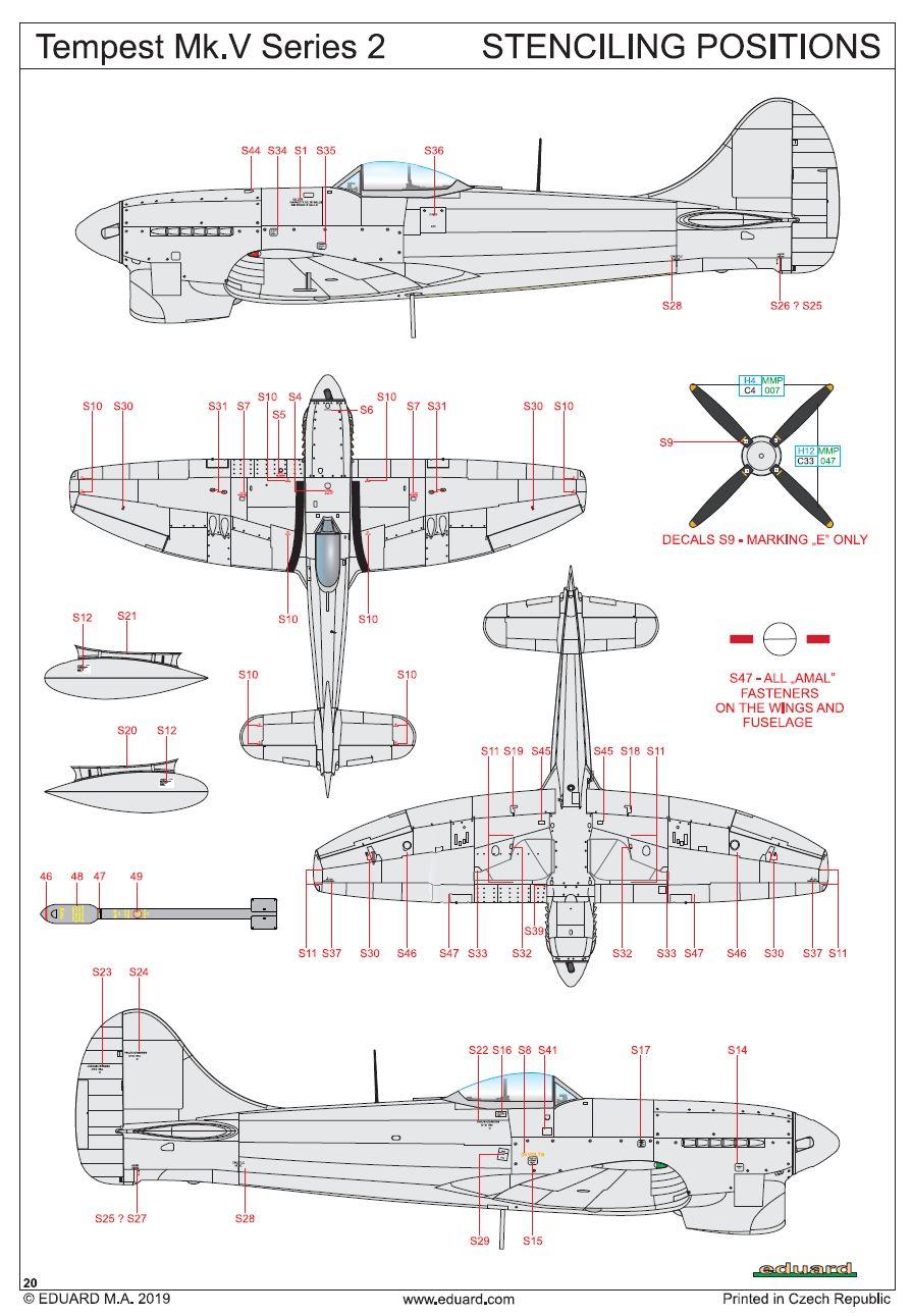 Eduard-82122-Tempest-Mk.-V-Series-2-Stencils Tempest Mk.V Series 2 Profi-Pack in 1:48 von Eduard #82122