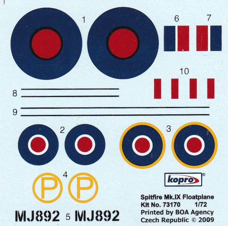 KoPro-73170-Spitfire-Mk.-IX-Floatplane-Decals Spitfire Mk. IX Floatplane in 1:72 von KoPro # 73170