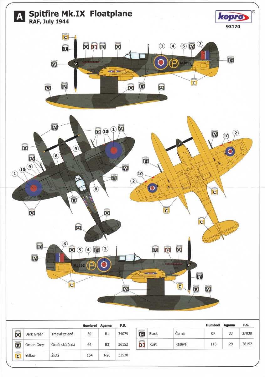 KoPro-73170-Spitfire-Mk.-IX-Floatplane-Lackierung Spitfire Mk. IX Floatplane in 1:72 von KoPro # 73170