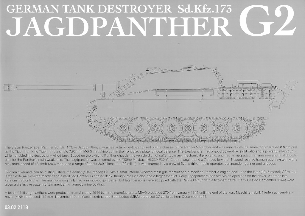 01-2 German Tank Destroyer Sd.Kfz. 173 Jagdpanther G2 1:35 Takom (#2118)