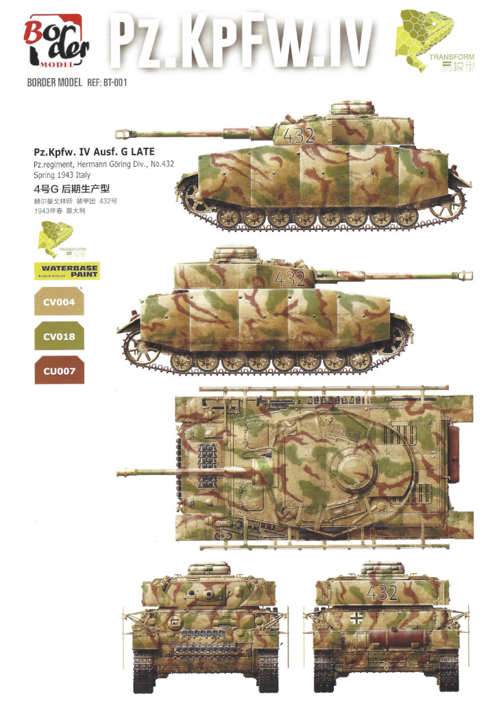 Anleitung-Masken Pz. Kpfw. IV Ausf. G Mid/Late 2 in 1 1:35 Border Model (BT-001)