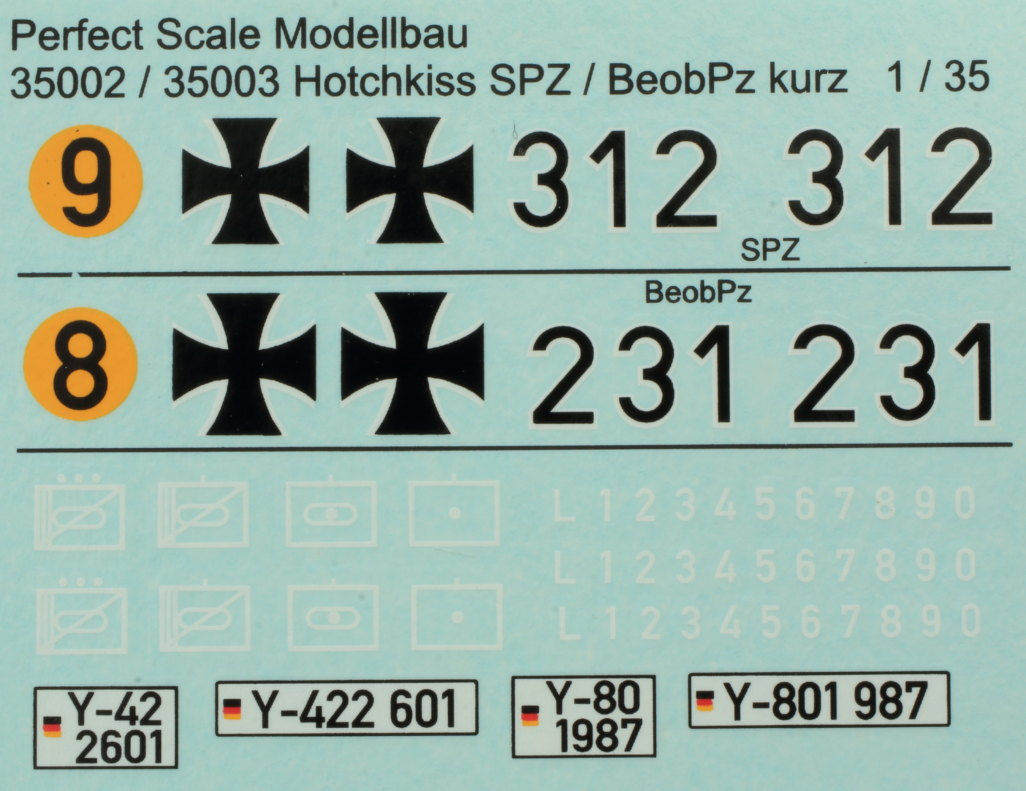 Decals-1 Hotchkiss SPZ kurz 1:35 Perfect Scale (#35002)