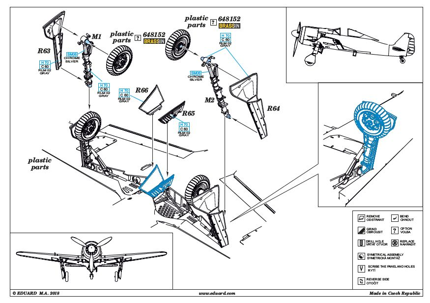 Eduard-648436-FW-190-A-5-Undercarriage-legs-BRONZE-7 FW 190 A-5 Undercarriage legs BRONZE von Eduard # 648436