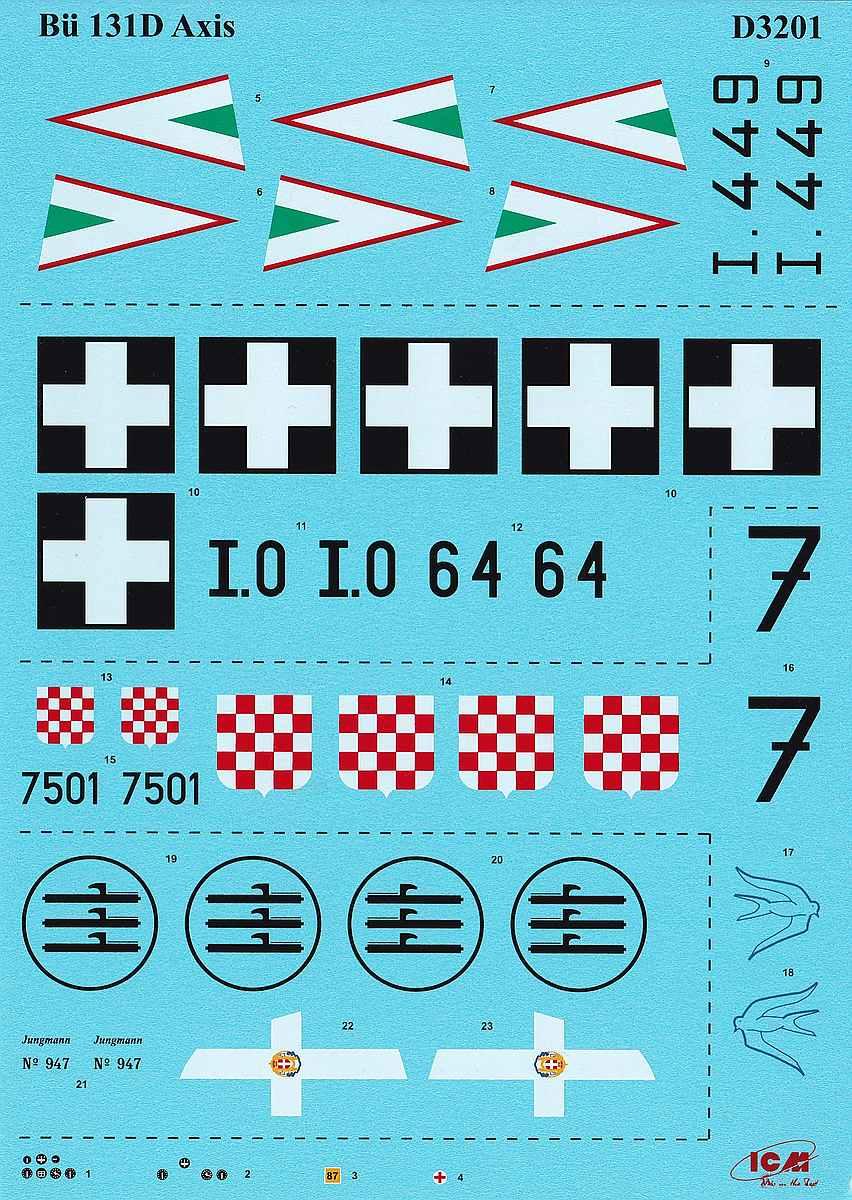 ICM-D3201-Bücker-Bü-131D-WW-II-Axis-3 Decals für die Bücker Bü 131D von ICM D32001