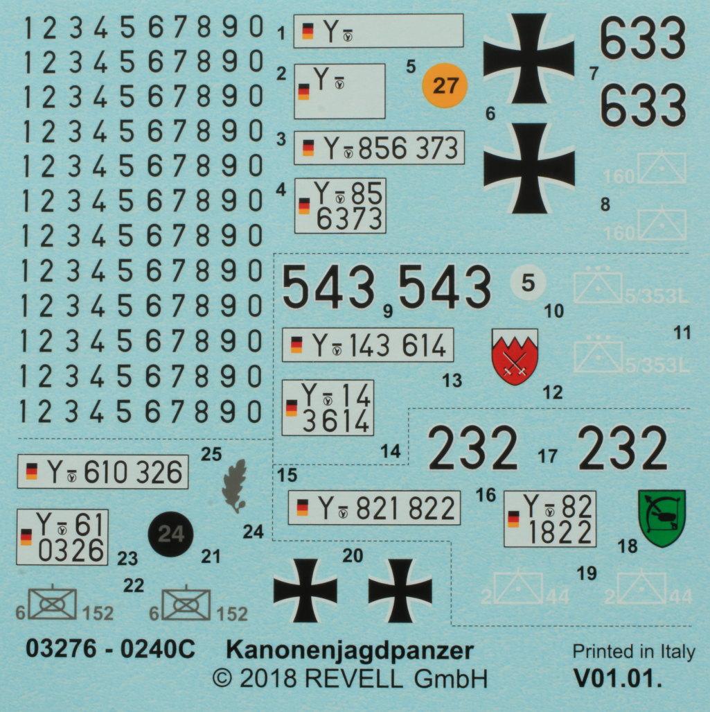 Decals Kanonenjagdpanzer (KaJaPa) 1:35 Revell (#03276)