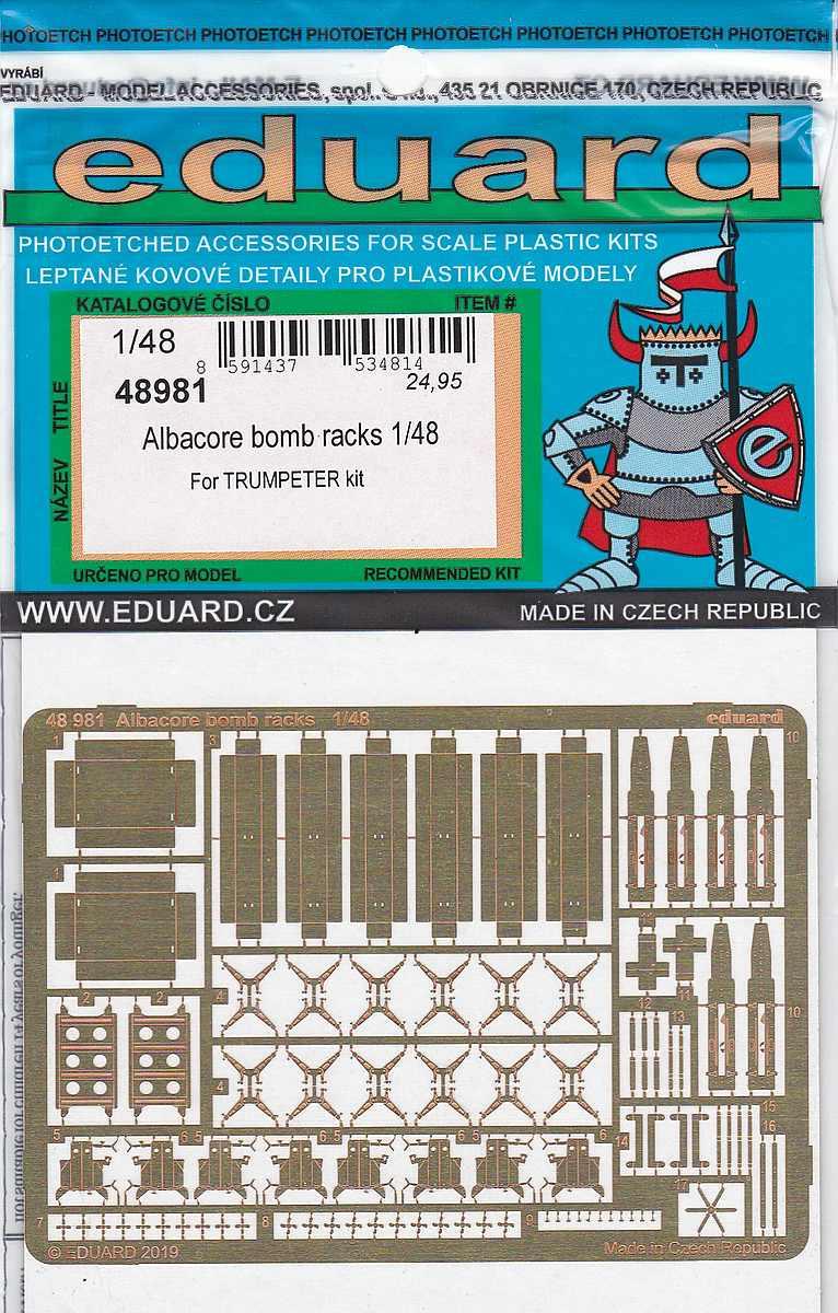 Eduard-48981-Albacore-Bomb-racks-1 Detailsets für die Fairey Albacore im Maßstab 1:48 von Eduard