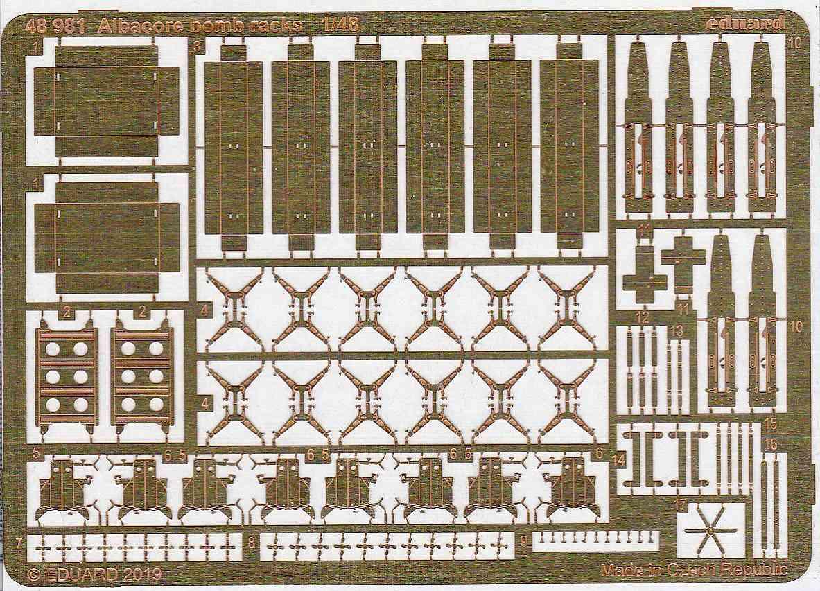 Eduard-48981-Albacore-Bomb-racks-2 Detailsets für die Fairey Albacore im Maßstab 1:48 von Eduard