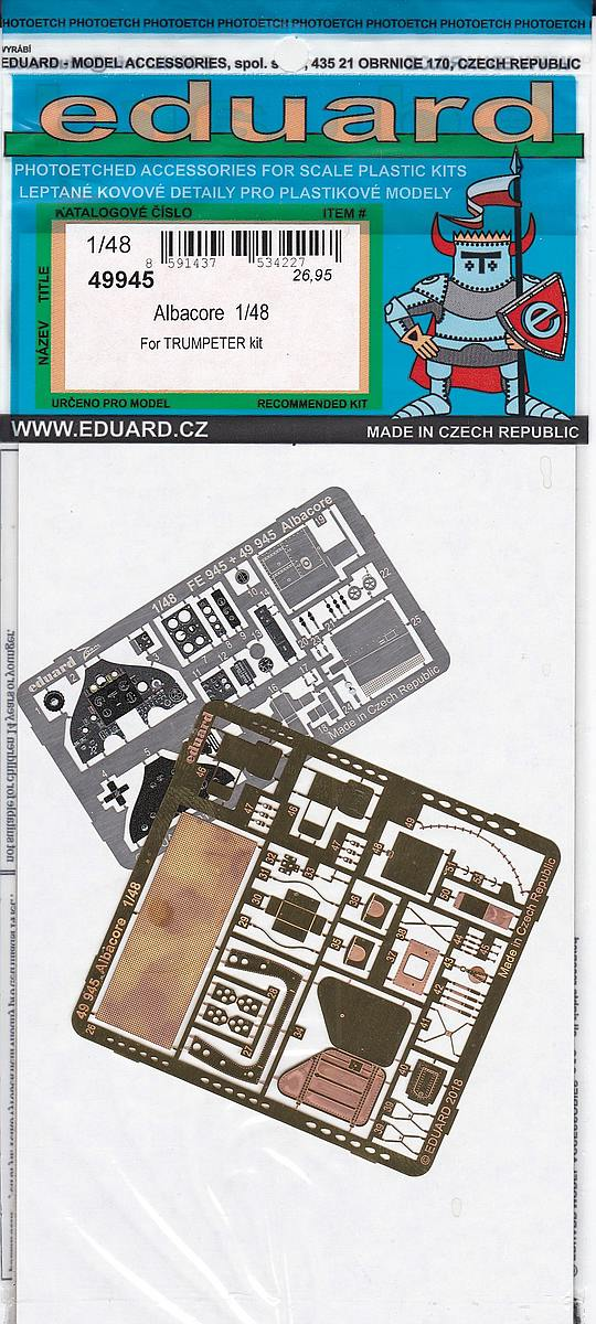 Eduard-49945-Albacore-1 Detailsets für die Fairey Albacore im Maßstab 1:48 von Eduard