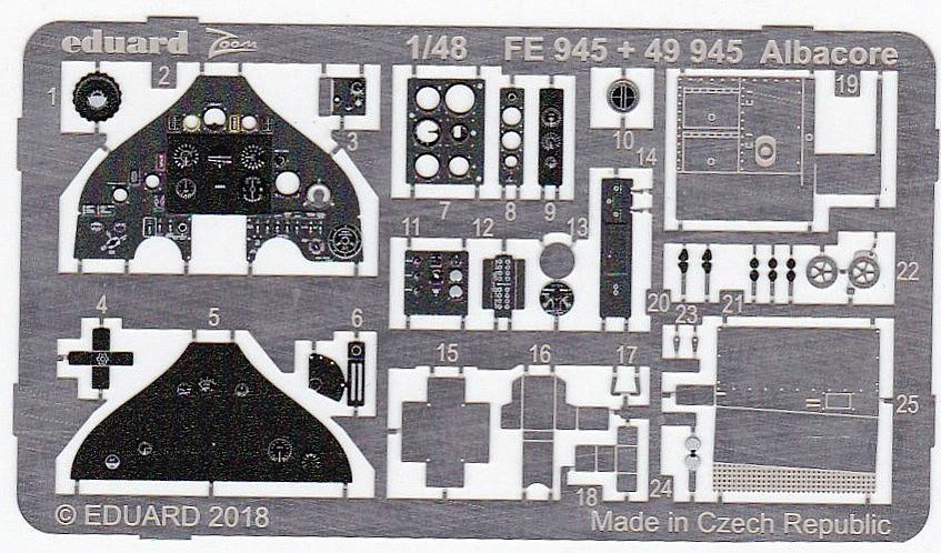 Eduard-49945-Albacore-2 Detailsets für die Fairey Albacore im Maßstab 1:48 von Eduard