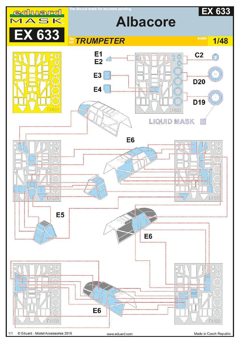 Eduard-EX-633-Albacore-Masken-2 Detailsets für die Fairey Albacore im Maßstab 1:48 von Eduard