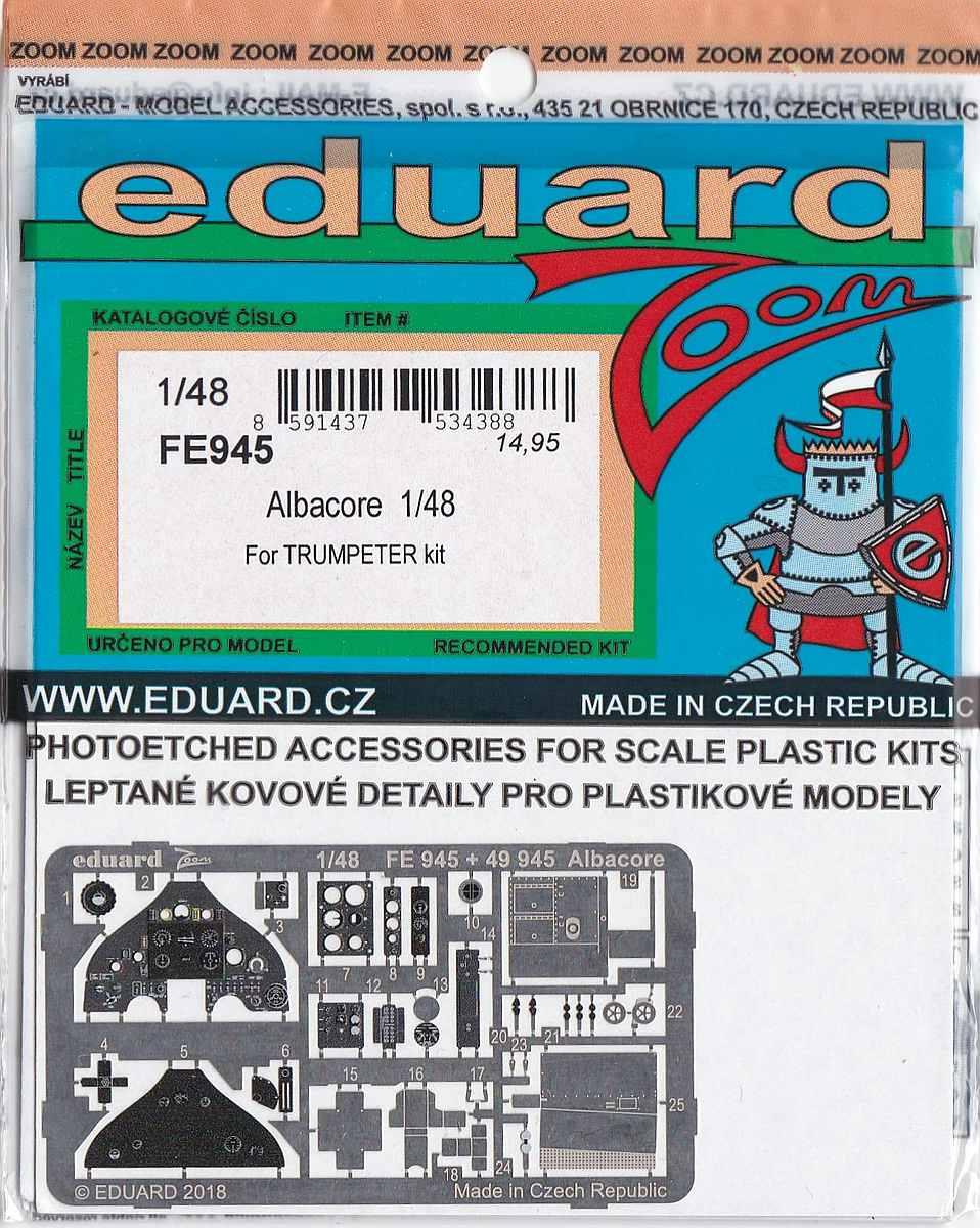 Eduard-FE-945-Albacore-ZOOM Detailsets für die Fairey Albacore im Maßstab 1:48 von Eduard