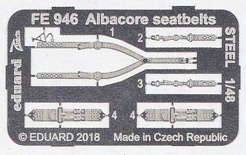 Eduard-FE-946-Albacore-seatbelts-STEEL-2 Detailsets für die Fairey Albacore im Maßstab 1:48 von Eduard