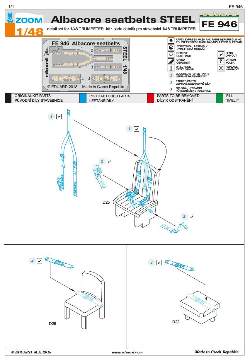 Eduard-FE-946-Albacore-seatbelts-STEEL Detailsets für die Fairey Albacore im Maßstab 1:48 von Eduard