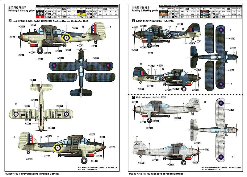 Trumpeter-02880-Fairey-Albacore-Bemalungsanleitung Fairey Albacore in 1:48  Trumpeter # 02880