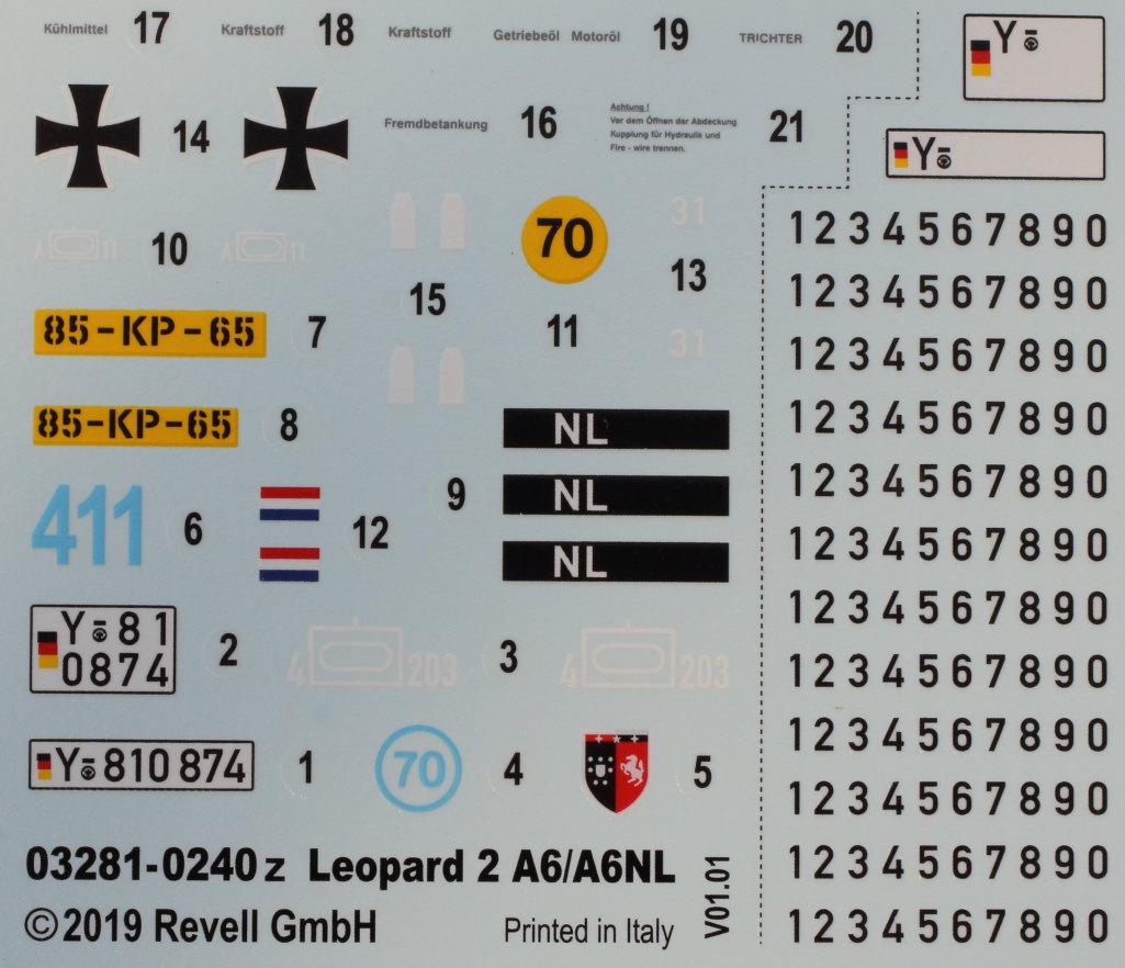 Decals-1 Leopard 2 A6/A6NL 1:35 Revell (#03281)