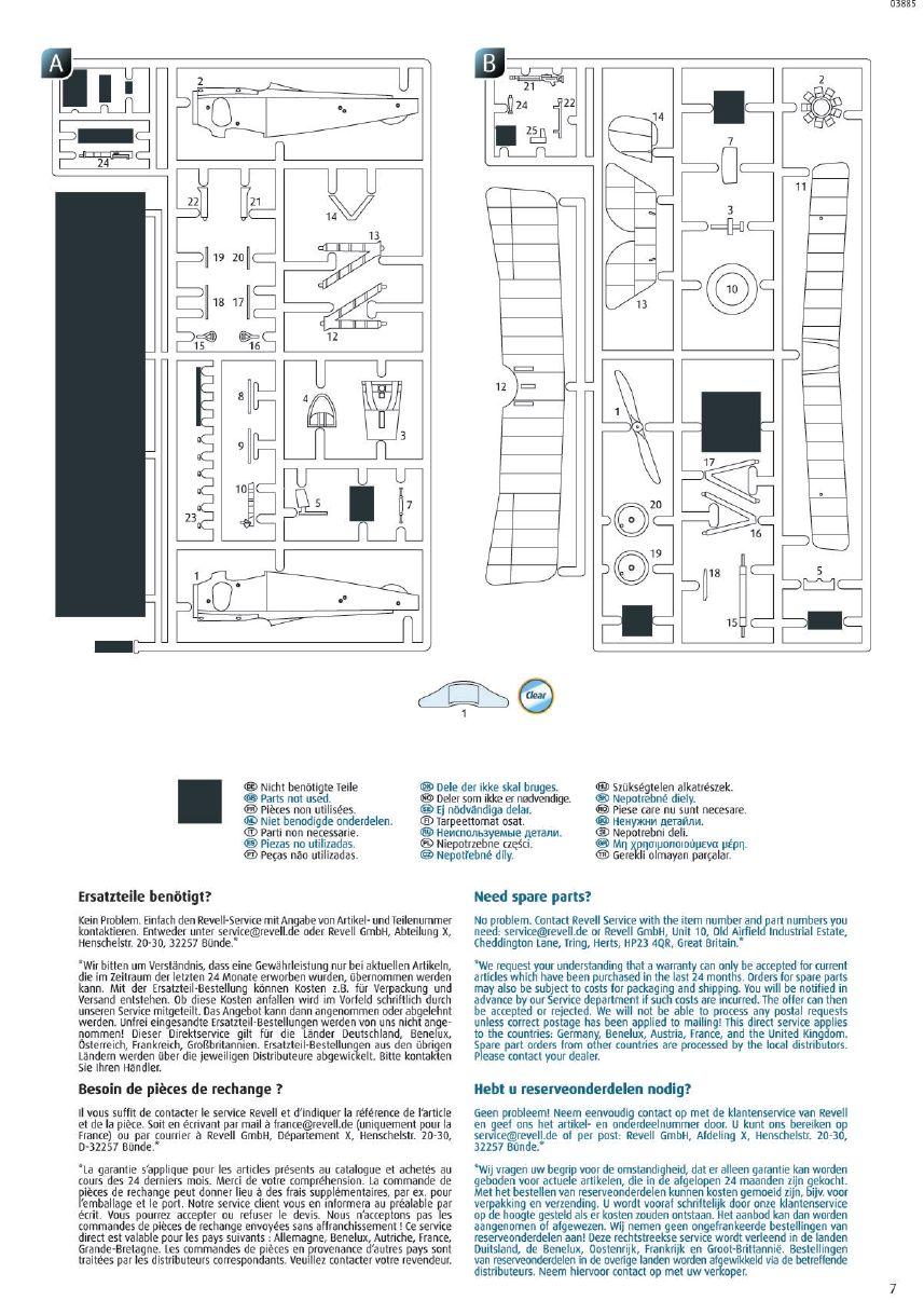 Revell-03885-Nieuport-17-Bauanleitung-Teileübersicht Nieuport 17 in 1:48 von Revell 03885