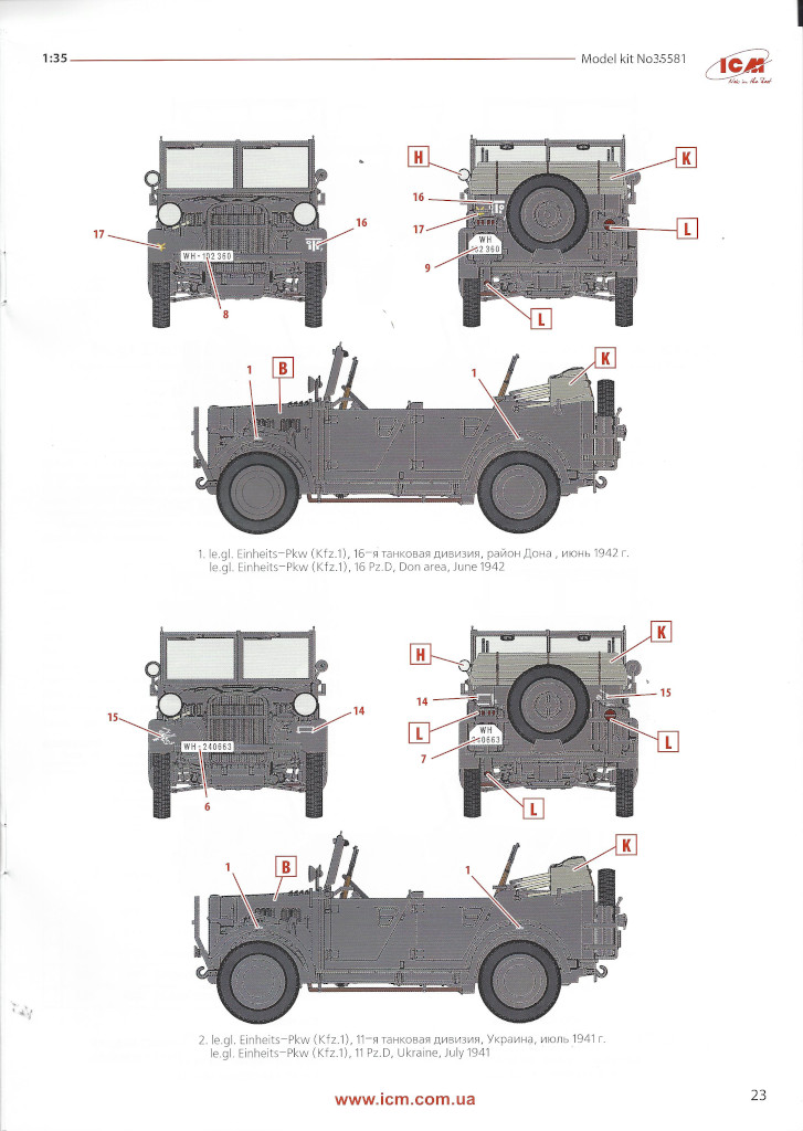 """Anleitung-Kfz1-23 Army Group """"Center"""" (Summer 1941) 1:35 ICM (#DS3502)"""