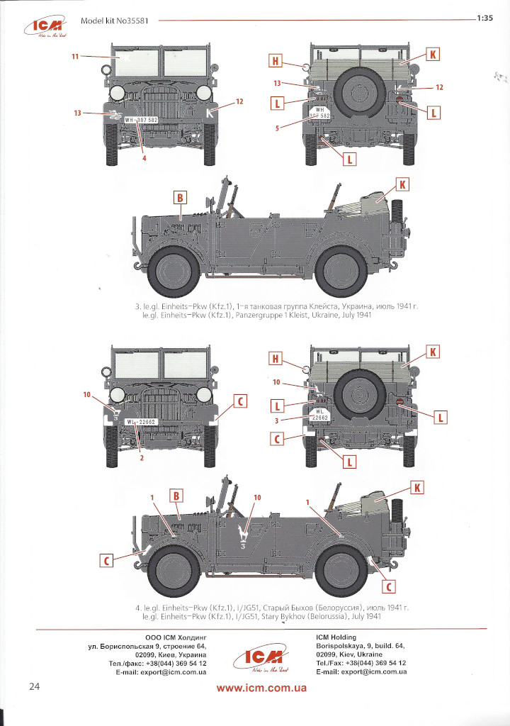 """Anleitung-Kfz1-24 Army Group """"Center"""" (Summer 1941) 1:35 ICM (#DS3502)"""
