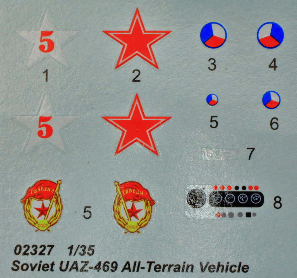 Decals-1 Soviet UAZ-469 All Terrain Vehicle 1:35 Trumpeter (#02327)