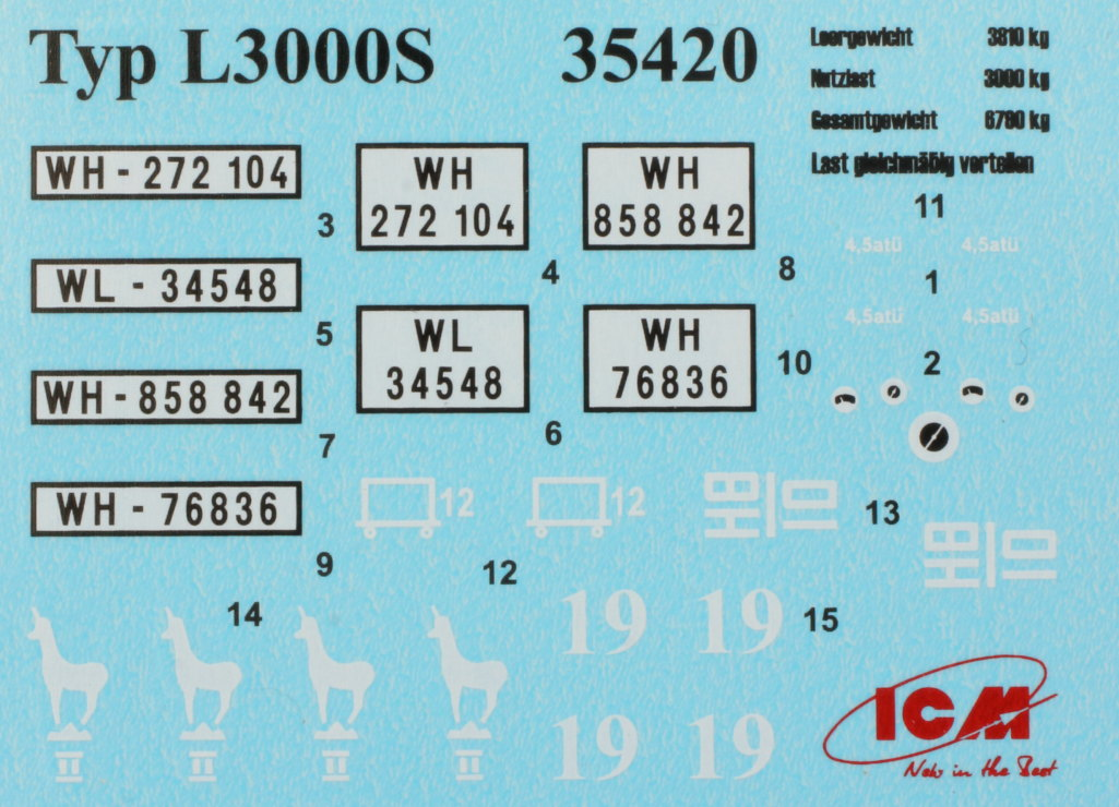 "Decals-L3000S Army Group ""Center"" (Summer 1941) 1:35 ICM (#DS3502)"