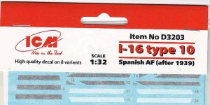 I-16 Type 10 Spanish Airforce Decals in 1:32 # ICM D3203