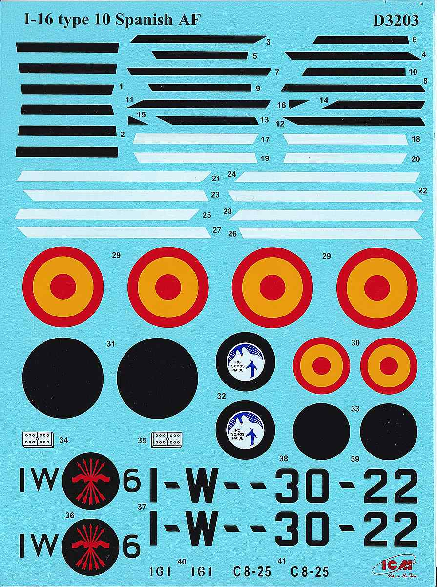 ICM-D3203-I-16-Type-10-Spanish-AF-2 I-16 Type 10 Spanish Airforce Decals in 1:32 # ICM D3203